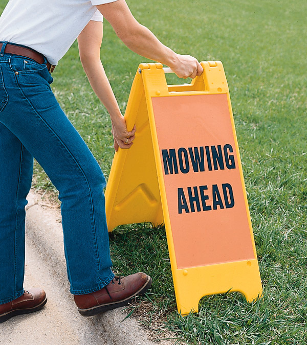 Minicade sign mowing ahead
