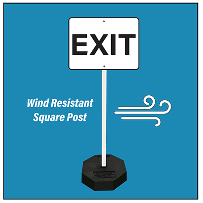 Wind resistant square sign post