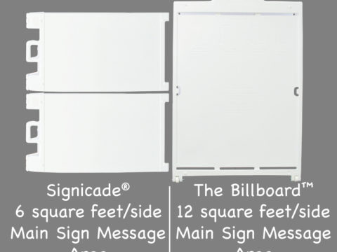 Billboard sign with two signicades