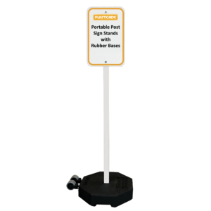 Portable sign post with rubber base
